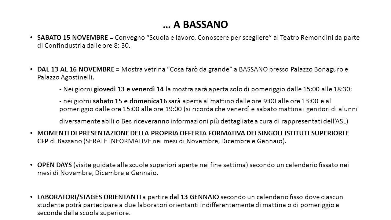 … A BASSANO SABATO 15 NOVEMBRE = Convegno Scuola e lavoro. Conoscere per scegliere al Teatro Remondini da parte di Confindustria dalle ore 8: 30.