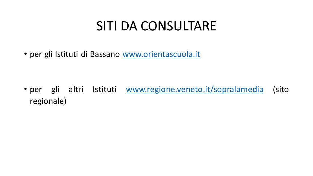 SITI DA CONSULTARE per gli Istituti di Bassano www.orientascuola.it