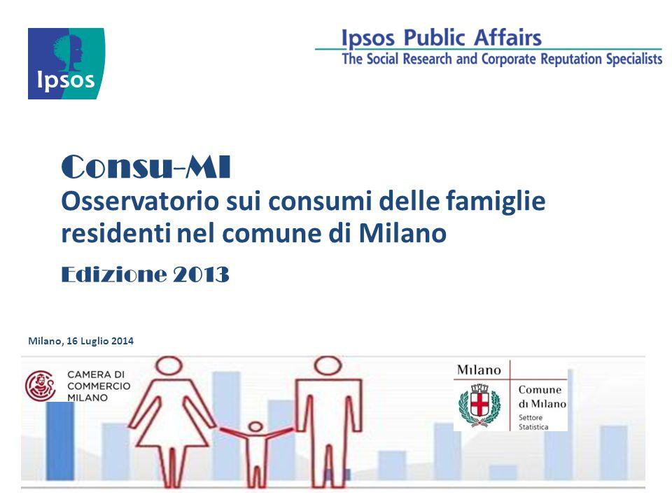 Consu-MI Osservatorio sui consumi delle famiglie residenti nel comune di Milano.