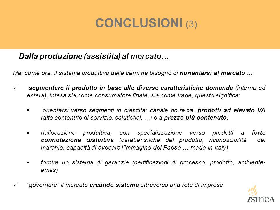 CONCLUSIONI (3) Dalla produzione (assistita) al mercato…