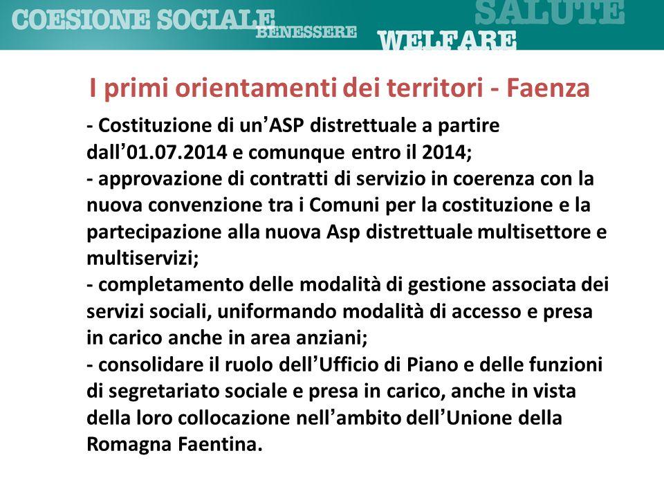 I primi orientamenti dei territori - Faenza