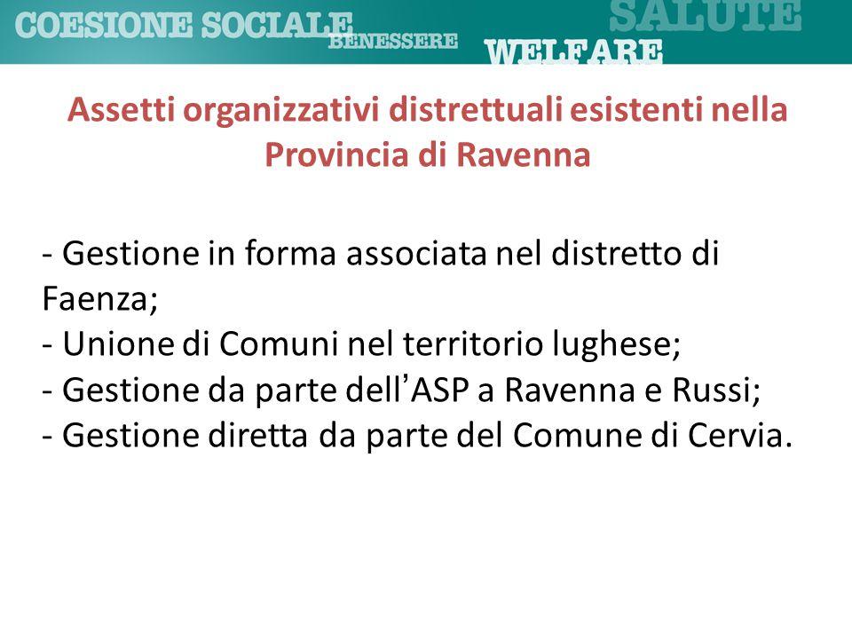 Assetti organizzativi distrettuali esistenti nella Provincia di Ravenna