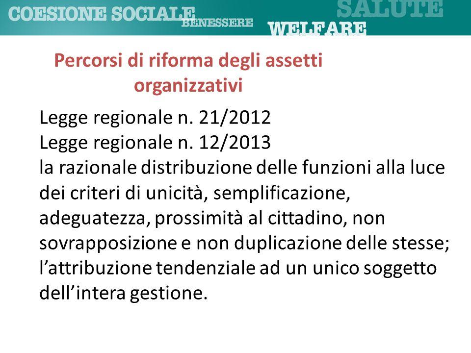 Percorsi di riforma degli assetti organizzativi