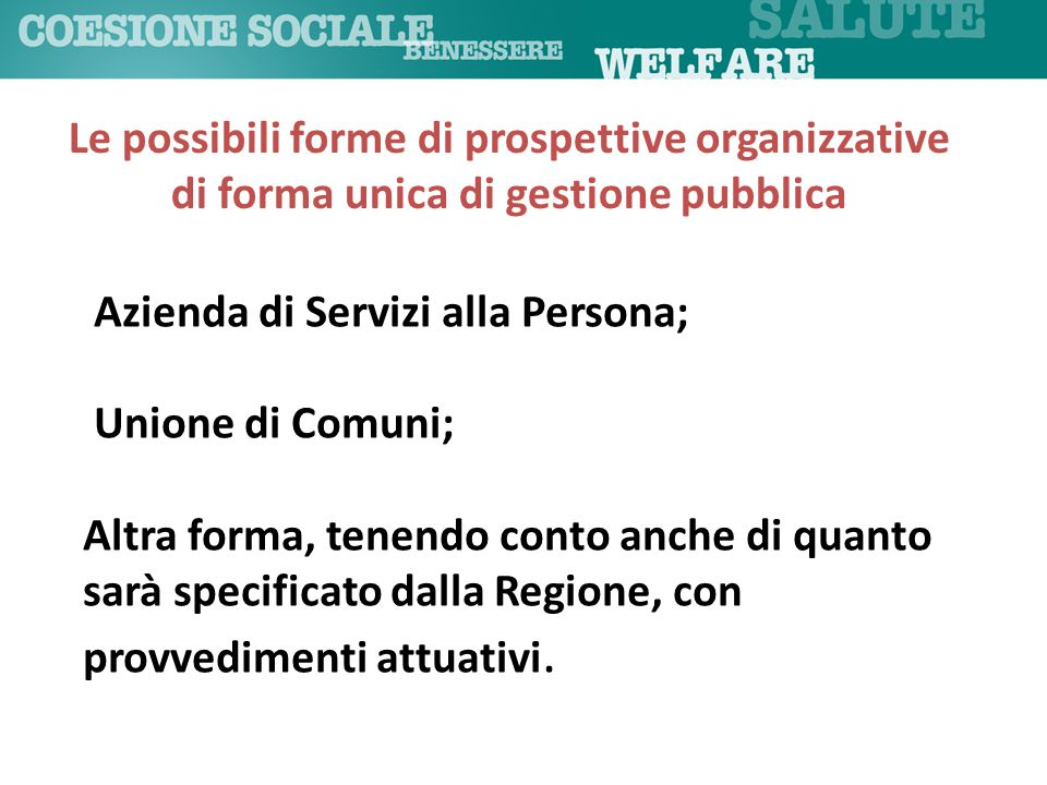 Le possibili forme di prospettive organizzative di forma unica di gestione pubblica