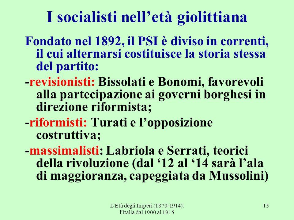 I socialisti nell'età giolittiana