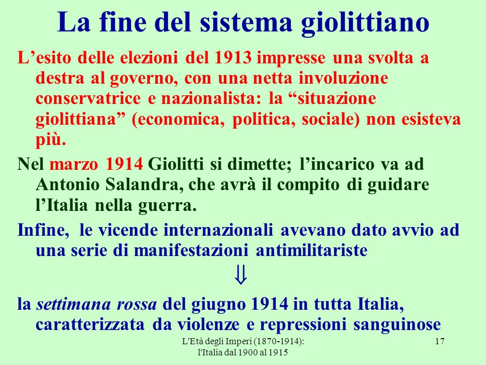 La fine del sistema giolittiano