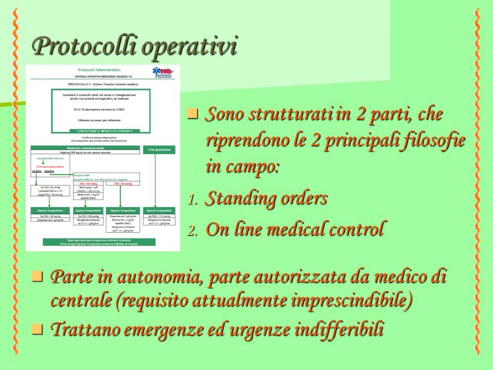 Protocolli operativi Sono strutturati in 2 parti, che riprendono le 2 principali filosofie in campo:
