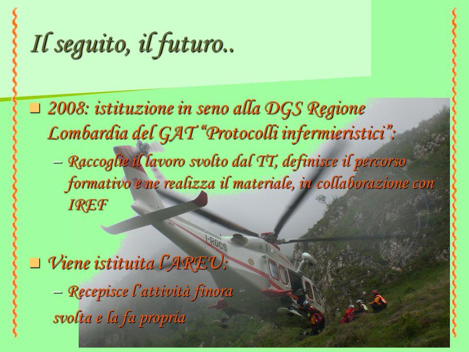 Il seguito, il futuro.. 2008: istituzione in seno alla DGS Regione Lombardia del GAT Protocolli infermieristici :