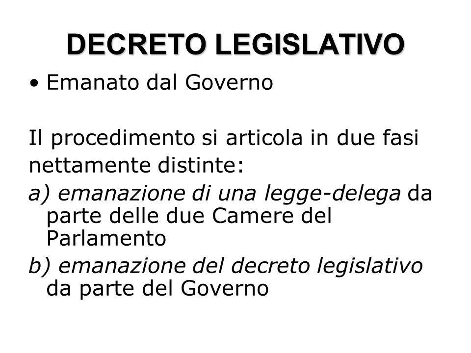 DECRETO LEGISLATIVO Emanato dal Governo