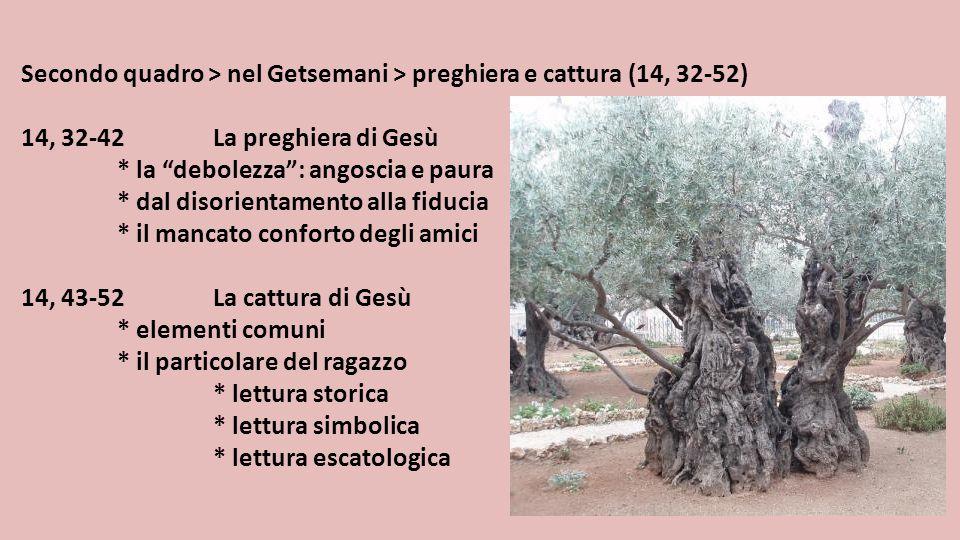 Secondo quadro > nel Getsemani > preghiera e cattura (14, 32-52)