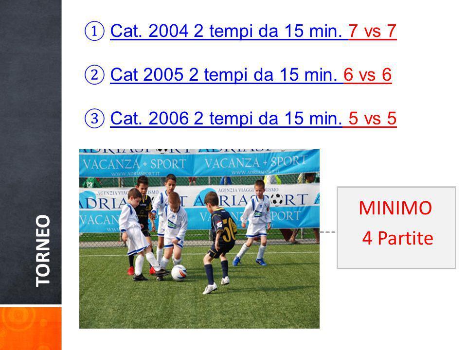 TORNEO MINIMO 4 Partite Cat. 2004 2 tempi da 15 min. 7 vs 7
