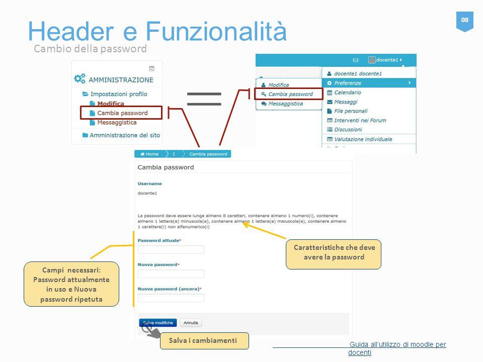 = Header e Funzionalità Cambio della password