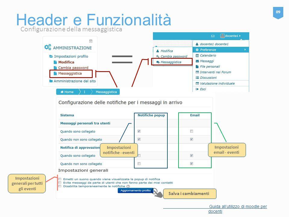 = Header e Funzionalità Configurazione della messaggistica