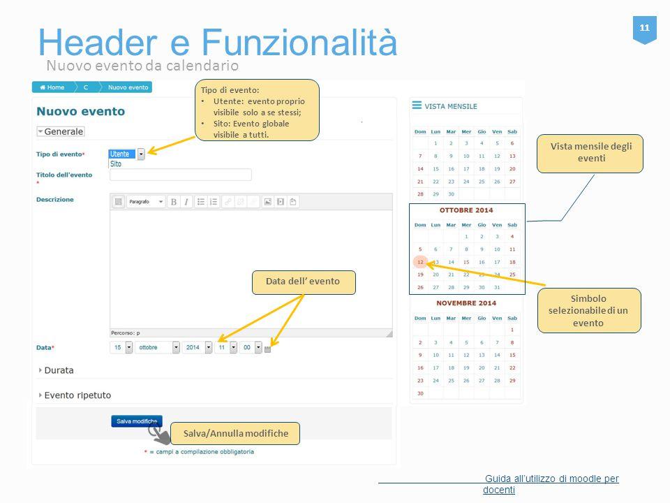 Header e Funzionalità Nuovo evento da calendario 11