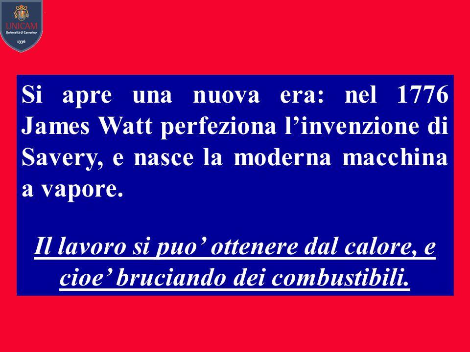 Si apre una nuova era: nel 1776 James Watt perfeziona l'invenzione di Savery, e nasce la moderna macchina a vapore.