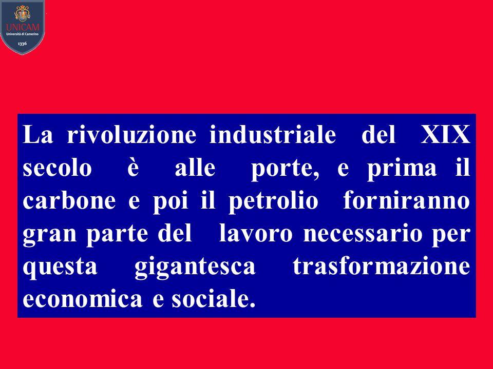 La rivoluzione industriale del XIX secolo è alle porte, e prima il carbone e poi il petrolio forniranno gran parte del lavoro necessario per questa gigantesca trasformazione economica e sociale.
