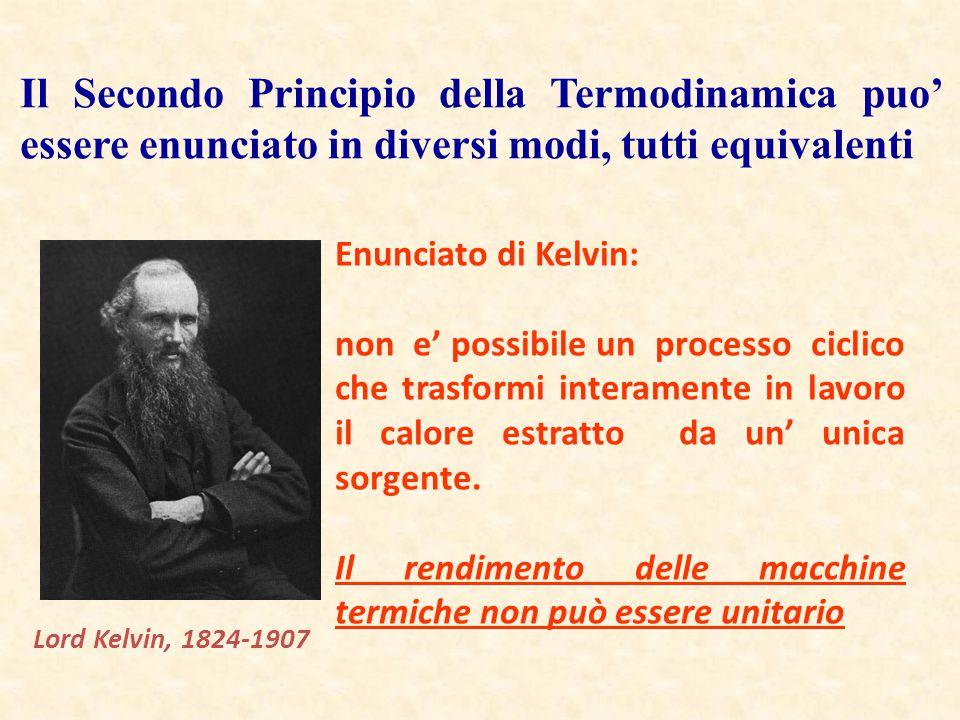 Il Secondo Principio della Termodinamica puo' essere enunciato in diversi modi, tutti equivalenti