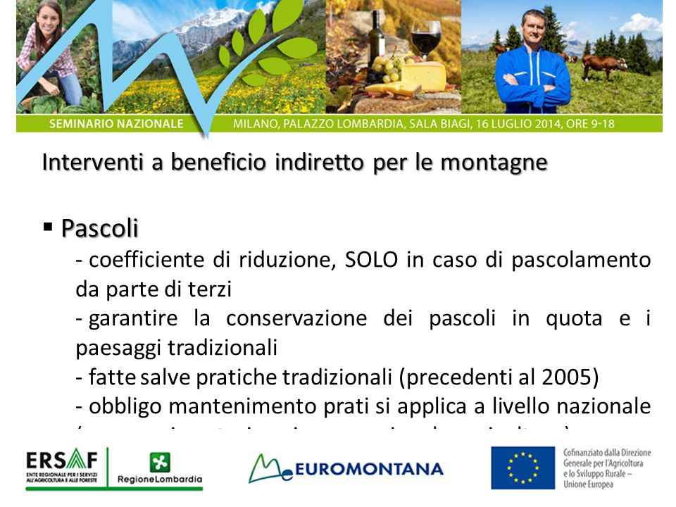 Pascoli Interventi a beneficio indiretto per le montagne
