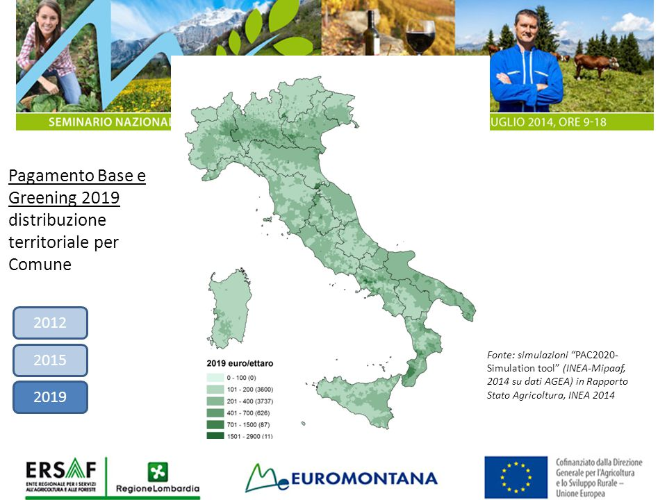 Pagamento Base e Greening 2019 distribuzione territoriale per Comune