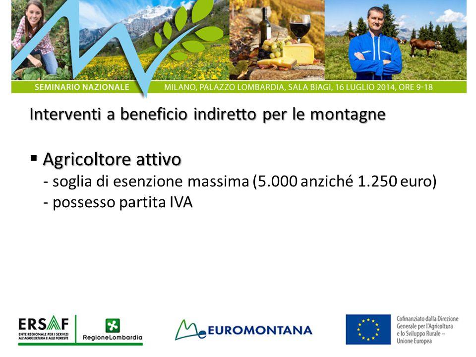 Agricoltore attivo Interventi a beneficio indiretto per le montagne