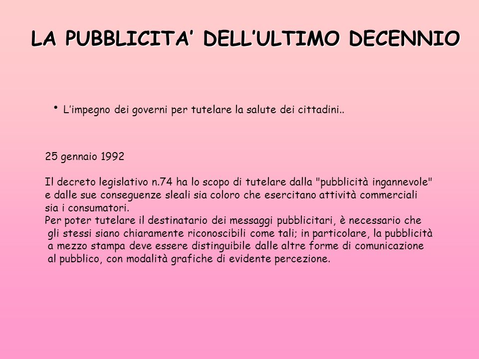 LA PUBBLICITA' DELL'ULTIMO DECENNIO