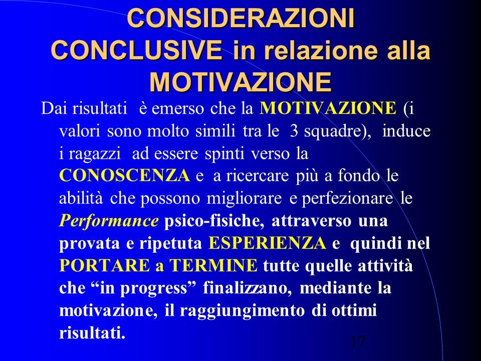 CONSIDERAZIONI CONCLUSIVE in relazione alla MOTIVAZIONE
