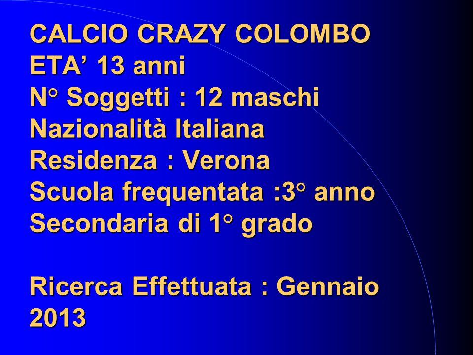 CALCIO CRAZY COLOMBO ETA' 13 anni N° Soggetti : 12 maschi Nazionalità Italiana Residenza : Verona Scuola frequentata :3° anno Secondaria di 1° grado Ricerca Effettuata : Gennaio 2013