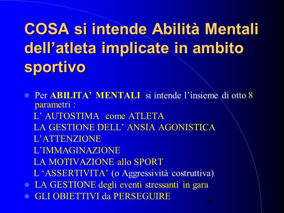 COSA si intende Abilità Mentali dell'atleta implicate in ambito sportivo
