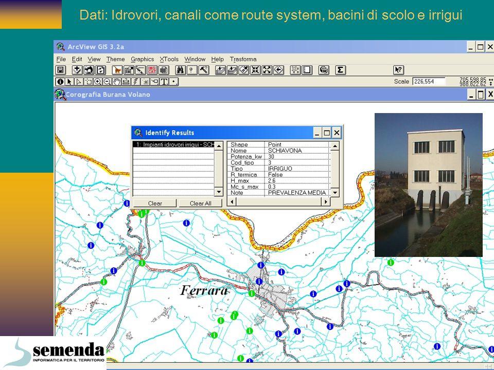 Dati: Idrovori, canali come route system, bacini di scolo e irrigui
