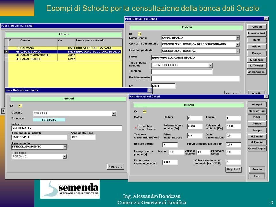 Esempi di Schede per la consultazione della banca dati Oracle