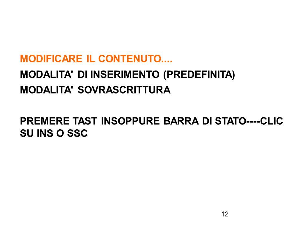 SELEZIONARE CARATTERI, PAROLE, ETC..
