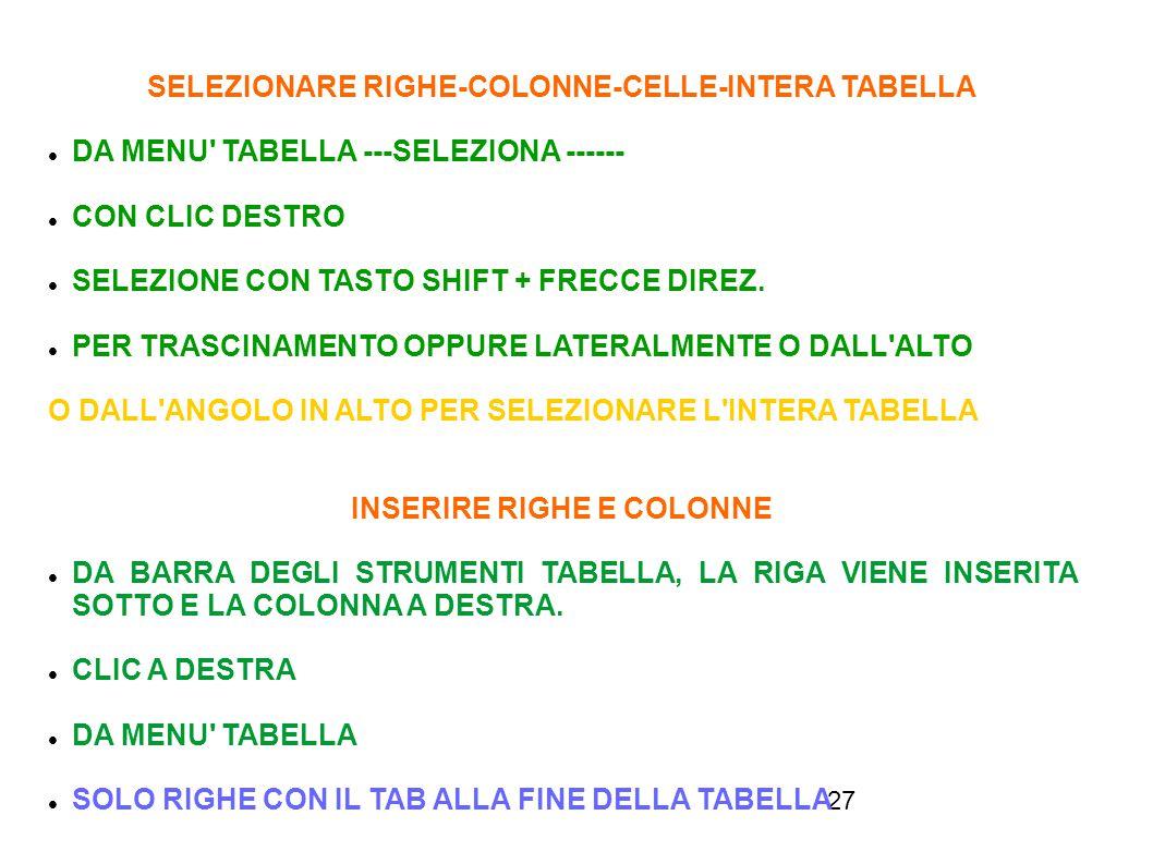 SELEZIONARE RIGHE-COLONNE-CELLE-INTERA TABELLA