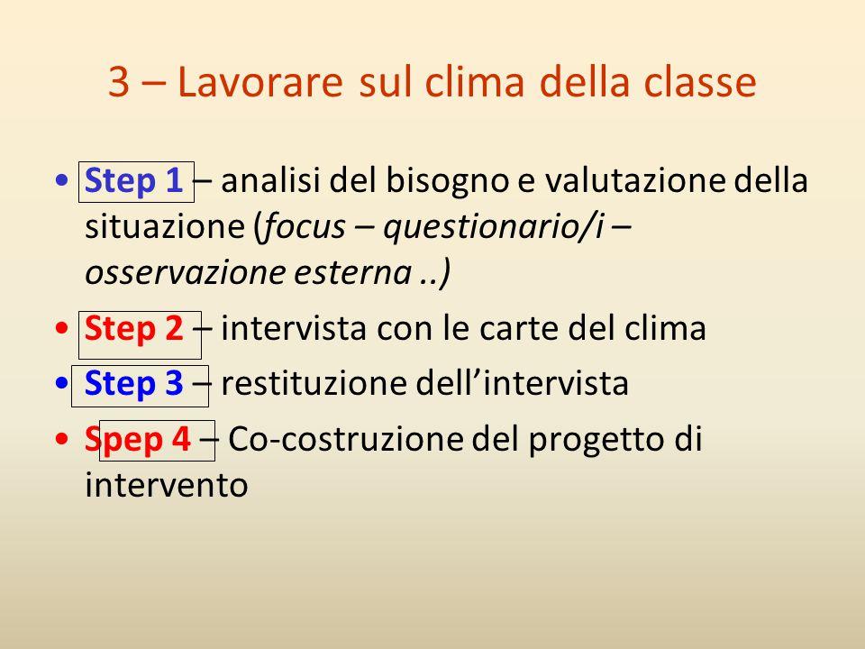 3 – Lavorare sul clima della classe