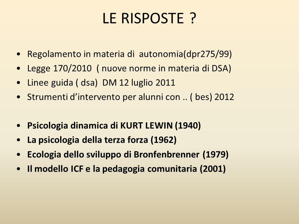 LE RISPOSTE Regolamento in materia di autonomia(dpr275/99)