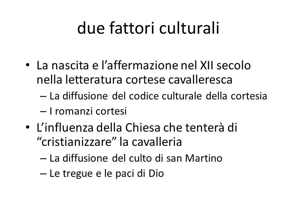 due fattori culturali La nascita e l'affermazione nel XII secolo nella letteratura cortese cavalleresca.
