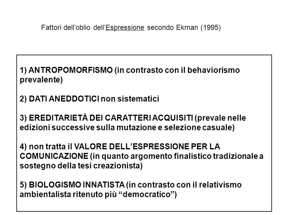 1) ANTROPOMORFISMO (in contrasto con il behaviorismo prevalente)