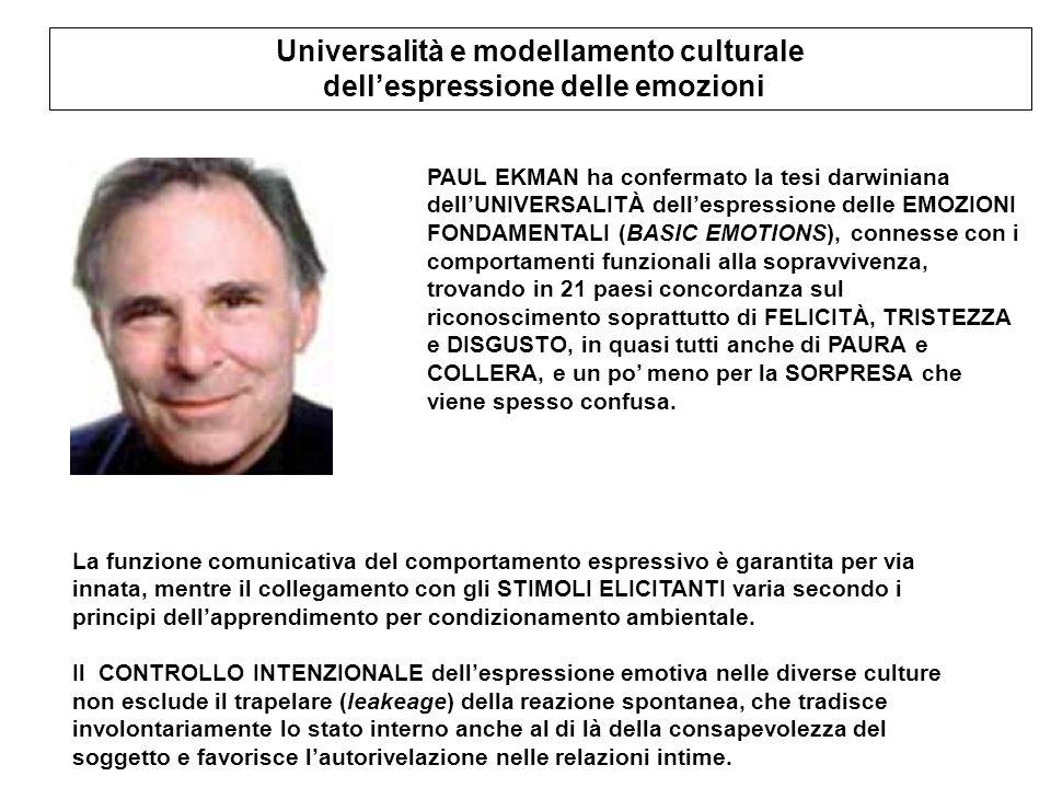 Universalità e modellamento culturale dell'espressione delle emozioni