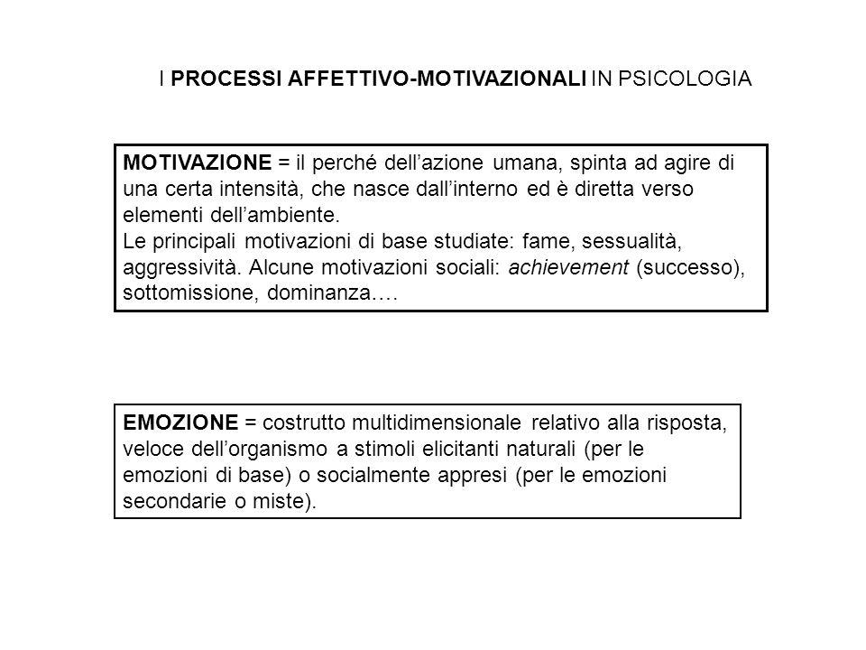 I PROCESSI AFFETTIVO-MOTIVAZIONALI IN PSICOLOGIA