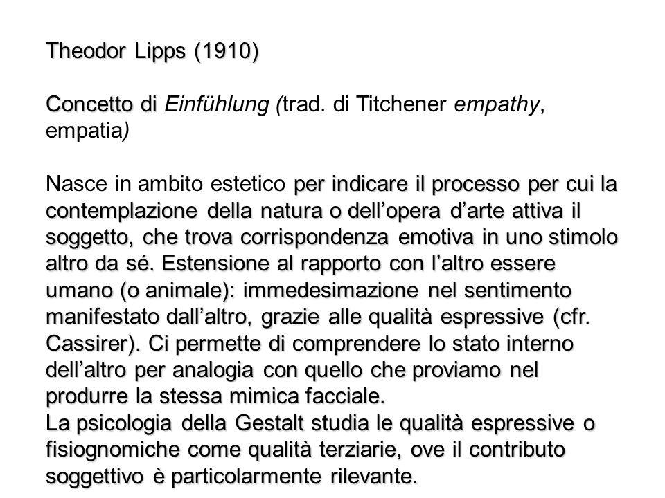 Theodor Lipps (1910) Concetto di Einfühlung (trad. di Titchener empathy, empatia)