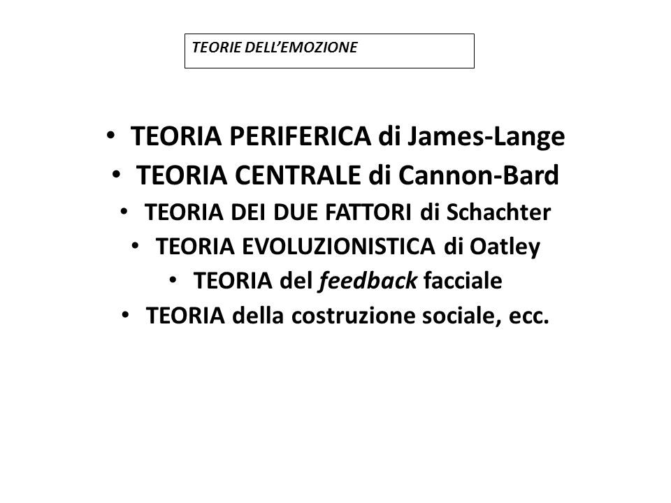 TEORIA PERIFERICA di James-Lange