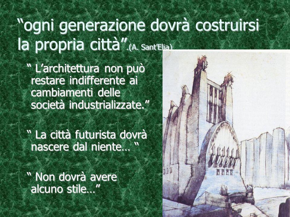 ogni generazione dovrà costruirsi la propria città .(A. Sant'Elia)