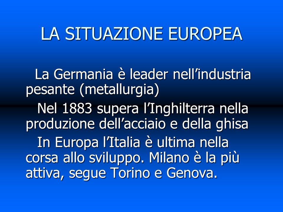 LA SITUAZIONE EUROPEA La Germania è leader nell'industria pesante (metallurgia)