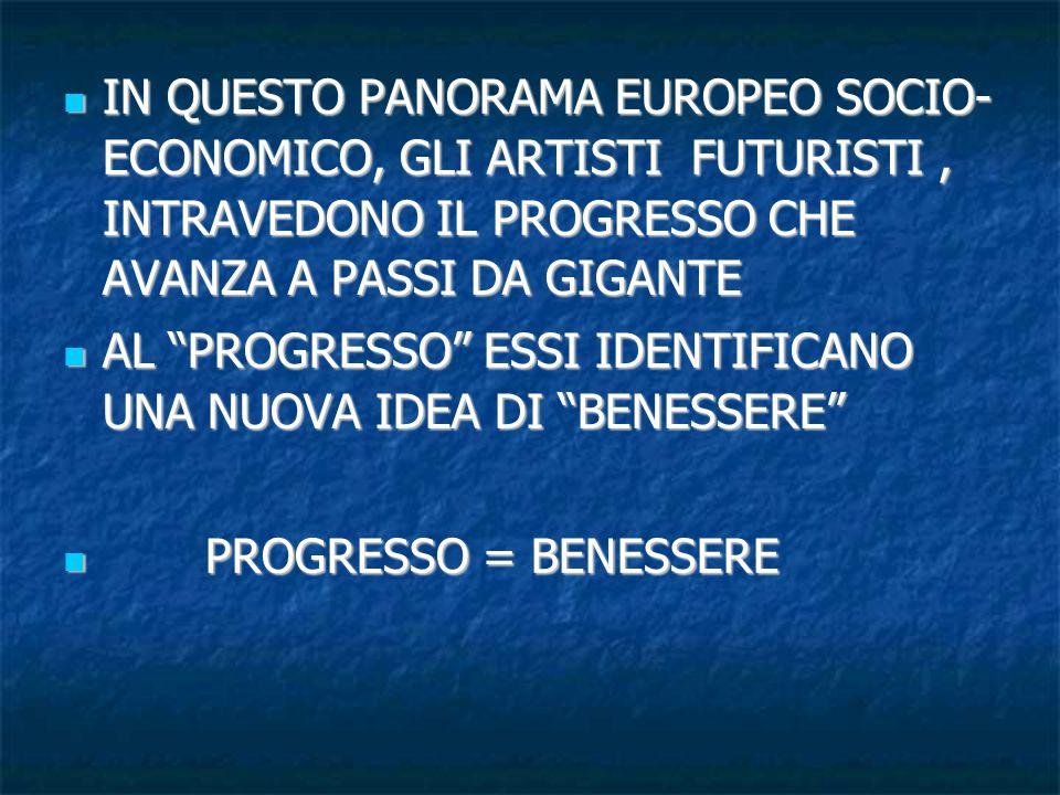 IN QUESTO PANORAMA EUROPEO SOCIO- ECONOMICO, GLI ARTISTI FUTURISTI , INTRAVEDONO IL PROGRESSO CHE AVANZA A PASSI DA GIGANTE