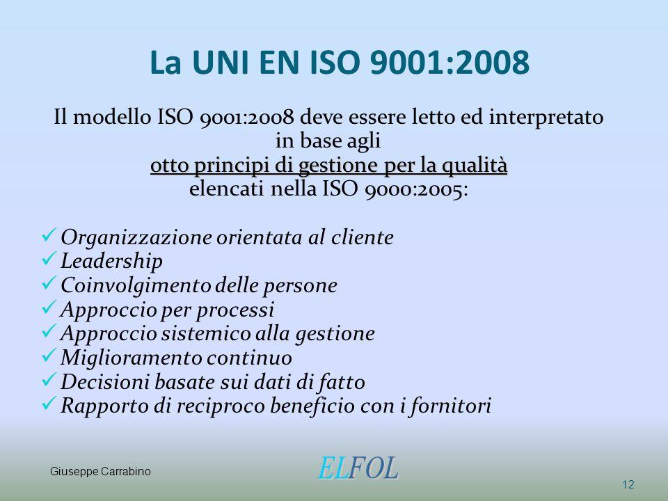 La UNI EN ISO 9001:2008 Il modello ISO 9001:2008 deve essere letto ed interpretato. in base agli. otto principi di gestione per la qualità.