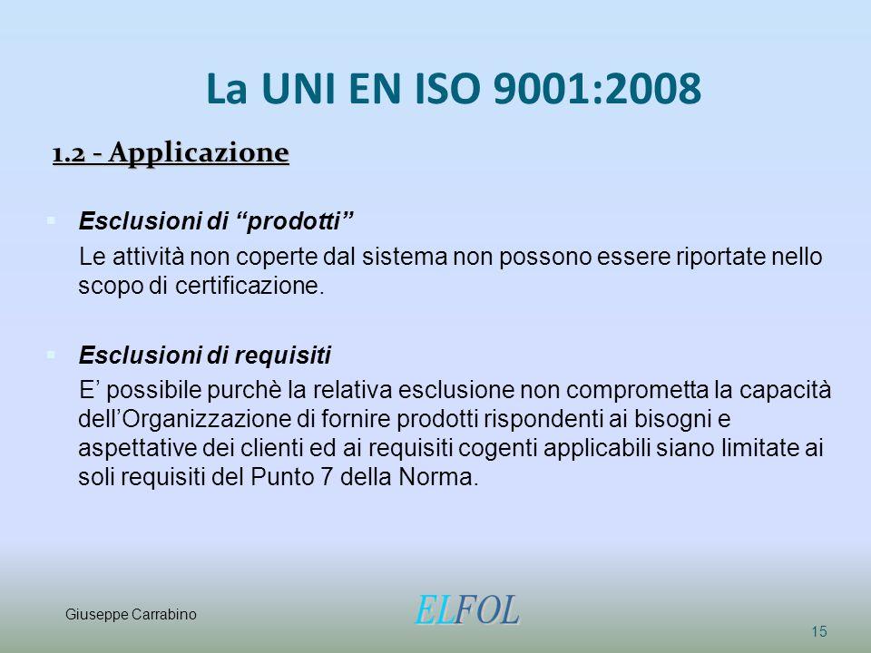 La UNI EN ISO 9001:2008 1.2 - Applicazione Esclusioni di prodotti