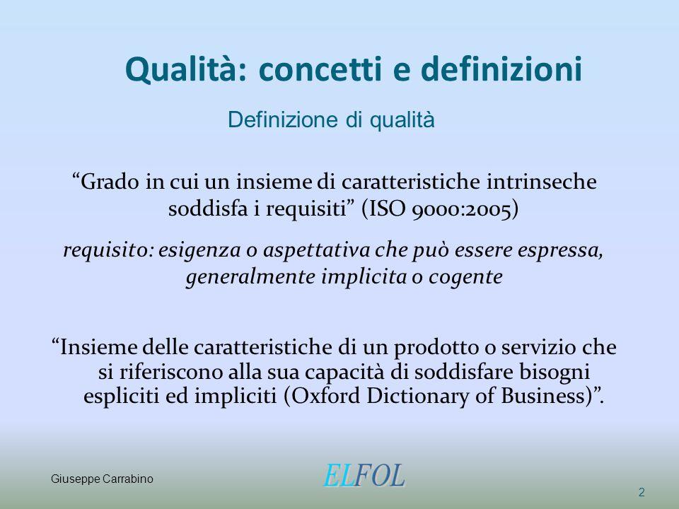 Qualità: concetti e definizioni
