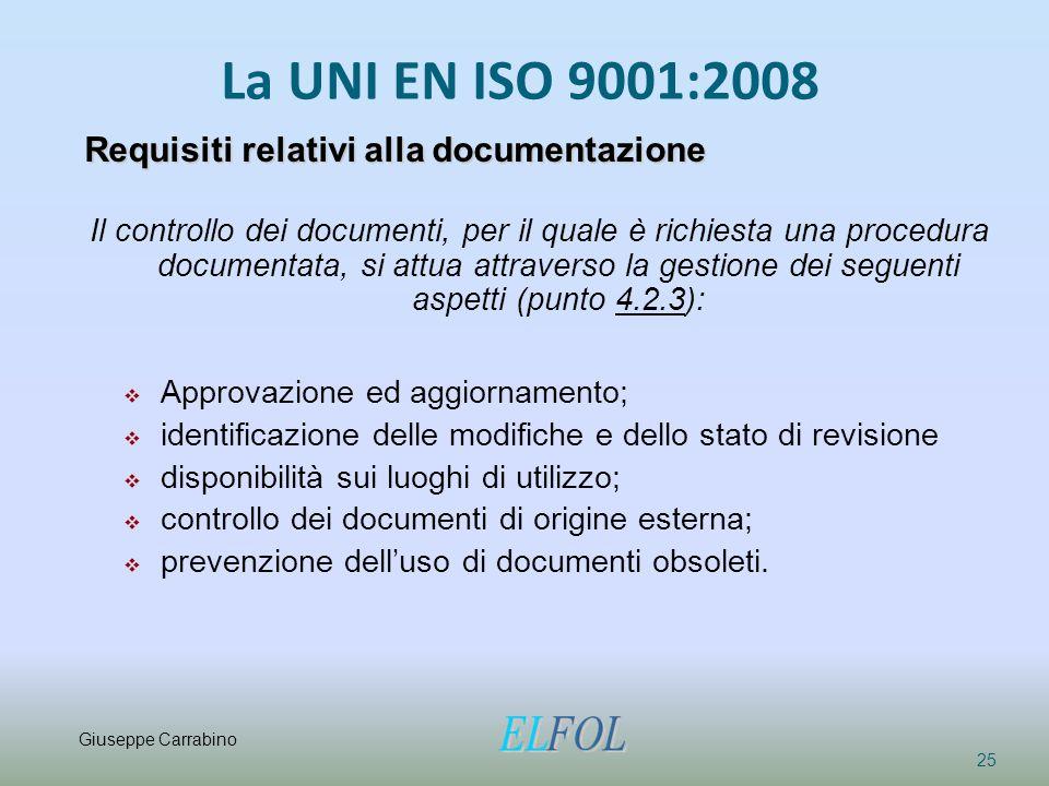 La UNI EN ISO 9001:2008 Requisiti relativi alla documentazione