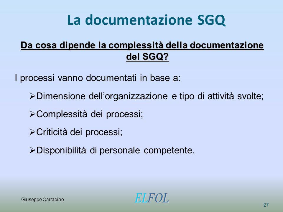 Da cosa dipende la complessità della documentazione del SGQ