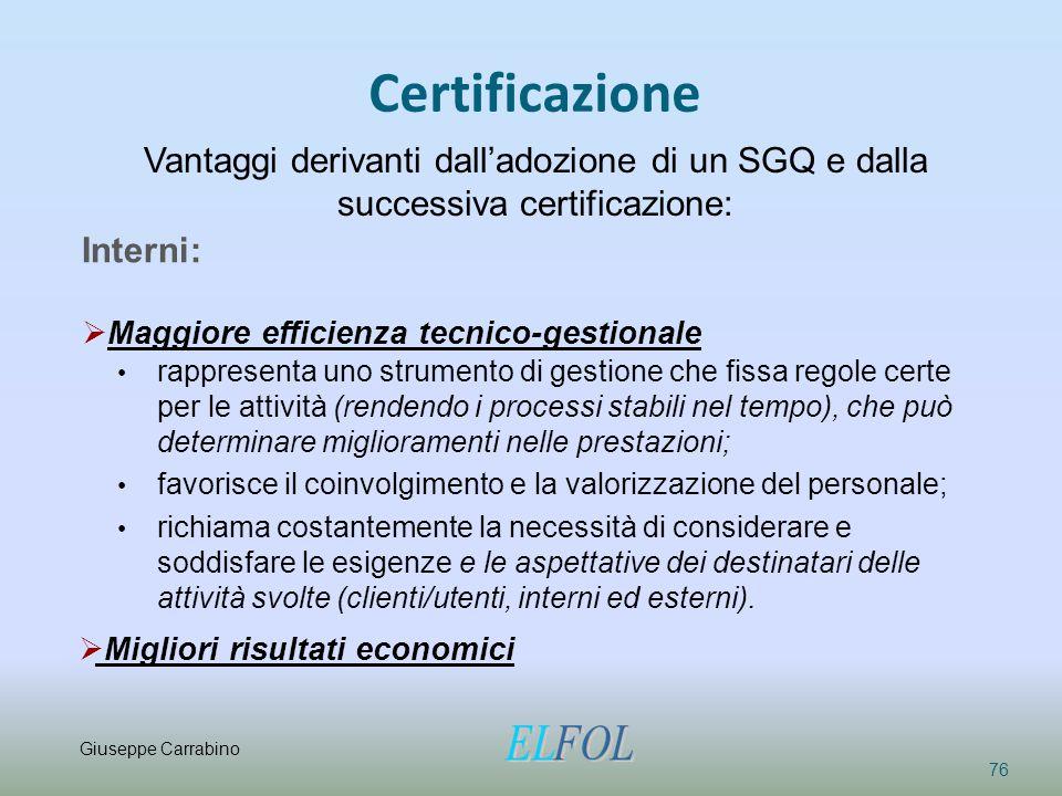 Certificazione Vantaggi derivanti dall'adozione di un SGQ e dalla successiva certificazione: Interni: