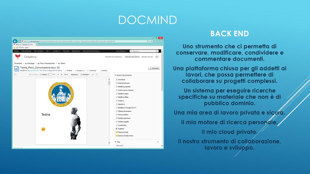 DOCMIND BACK END. Uno strumento che ci permetta di conservare, modificare, condividere e commentare documenti.
